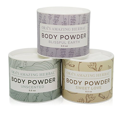 (Natural Body Powder Dusting Powder Travel Sizes 3 pak, No Talc, Corn Grain or Gluten Sweet Love, Blissful Earth, Unscented.5 oz each)