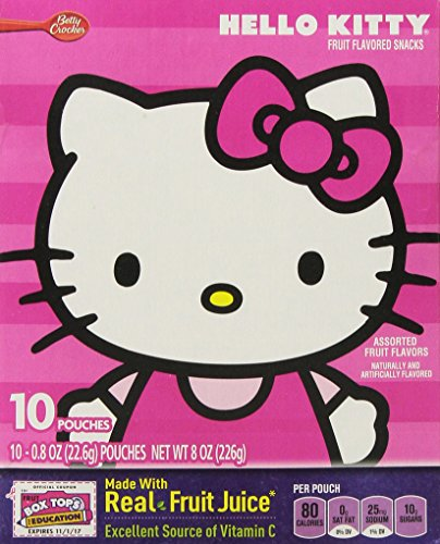 Hello Kitty Assorted Fruit Flavor Snacks, 10-Pouch Box (2 Boxes)]()