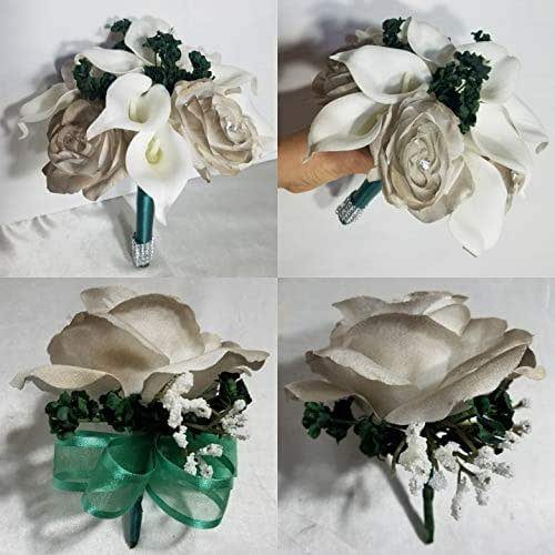 Whole Foods Wedding Bouquet: Amazon.com: Champagne Hunter Green Rose Calla Lily Bridal