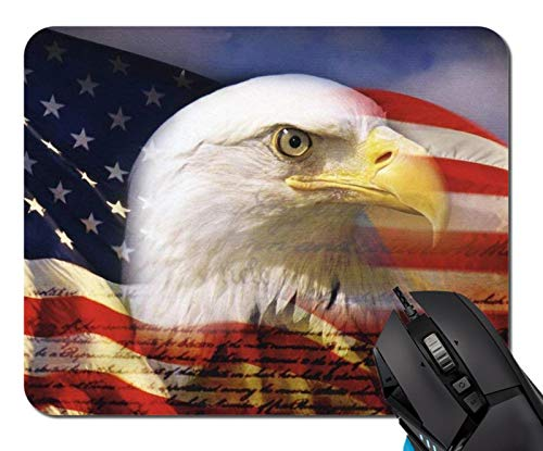 Us Flag Eagle Mouse Pad Non-Skid Natural Rubber Rectangle Mouse Pads Home Office Computer Gaming Mousepad Mat ()