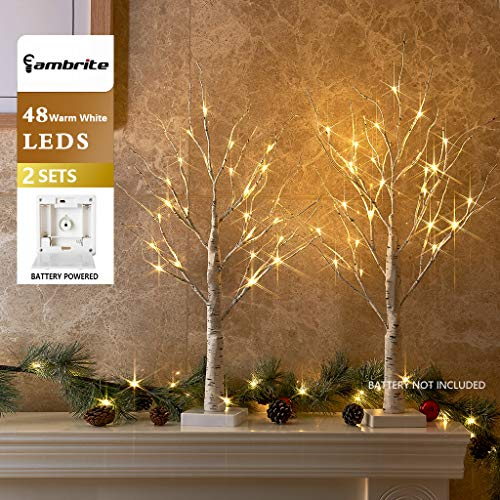 EAMBRITE Set of 2 2FT 24LT Warm White LED Birch Tree Light Tabletop Bonsai Tree Light Jewelry Holder Decor for Home Party Wedding Holiday (Tree Wedding Decorations)