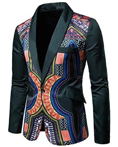 ouxiuli Men's Africa Dashiki Print One Button Notched Lapel Slim Fit Blazer Blackish Green 2XL by ouxiuli