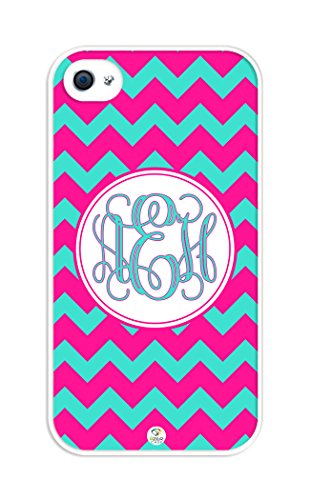 iZERCASE Monogram Personalized Deep Pink and Turquoise Chevron Pattern RUBBER iphone 4 case - Fits iphone 4 & iphone 4s T-Mobile, Verizon, AT&T, Sprint and International (White) (Turquoise Chevron Iphone 4 Case)