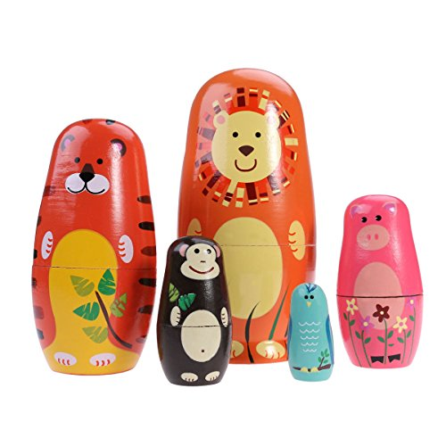TOYMYTOY Nesting Dolls Five Cute Russian Dolls Toy Gift by TOYMYTOY (Image #6)