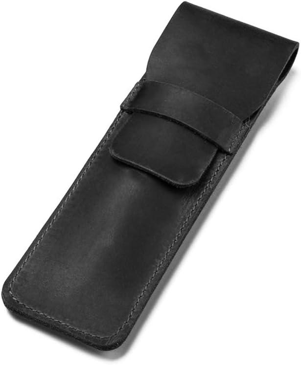 Daimay Estuche de cuero para bolígrafo Poseedor Fuente hecha a mano Bolsa de plumas múltiples Cuero de caballo loco Funda protectora de la pluma - Negro