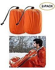 Zmoon Emergency Sleeping Bag - Waterproof Lightweight Thermal Bivy Sack - Survival Blanket Bags Portable Nylon Sack Camping, Hiking, Outdoor, Activities (2 Pack)