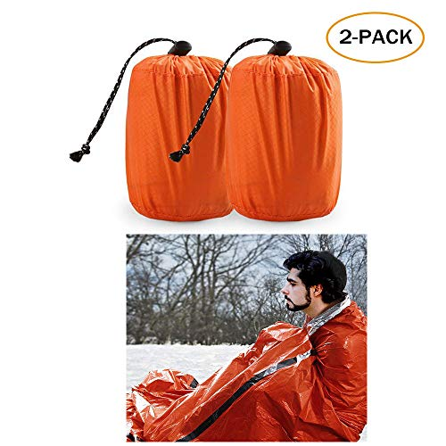 TWFRIC Emergency Sleeping Bag - Waterproof Lightweight Thermal Bivy Sack - Survival Blanket Bags Portable Nylon Sack Camping