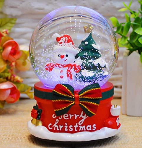 Udane Home Supplies Accessories Creative Christmas Crystal Ball Music Box Floating Snow with Lights (Medium 030-Random Style)