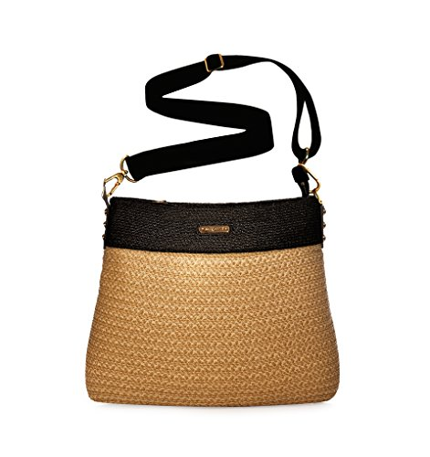 Eric Javits Luxury Fashion Designer Women's Handbag - Escape Pouch - Natural/Black by Eric Javits