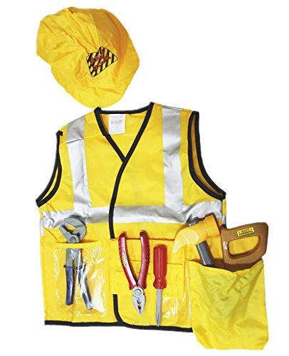 [Halloween Costume Set Engineer Construction Worker Kid Children Party 3-7y] (Construction Worker Girl Costume)