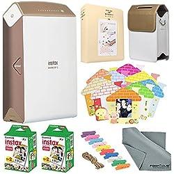 Fujifilm Instax SHARE Smartphone Printer SP-2 (Gold) with Instant Film (40 Sheets) and Custom Designed Fashion Case and FiberTique Cloth