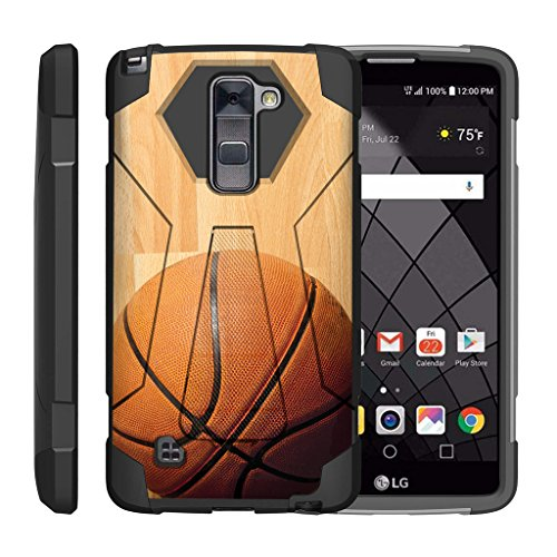Hardwood Basketball (TurtleArmor | LG Stylus 2 Case | LG G Stylo 2 Case | Stylo 2 V [Dynamic Shell] Dual Hybrid Hard Absorber Impact Silicone Cover Kickstand Sports Video Games Design - Hardwood Basketball)