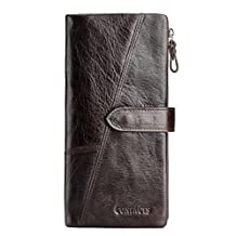 Contacts Men's Genuine Leather Cowhide Clutch Long Bifold Trifold Wallet Brown Color