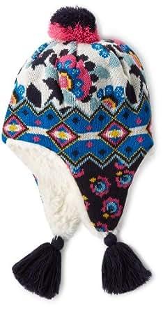 Muk Luks Women's Faux Fur Lined Helmet Hat, Dark Sapphire/Ivory, One Size