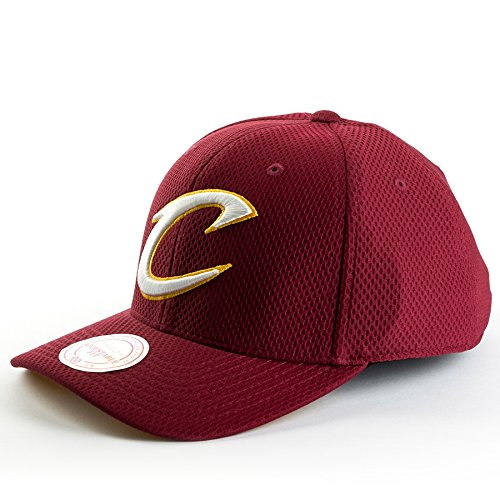 Mitchell & Ness NBA Hexagon Jersey Mesh Hook & Loop Adjustable Strapback Hat (Cleveland Cavaliers - Maroon) Athletic Jersey Mesh Cap