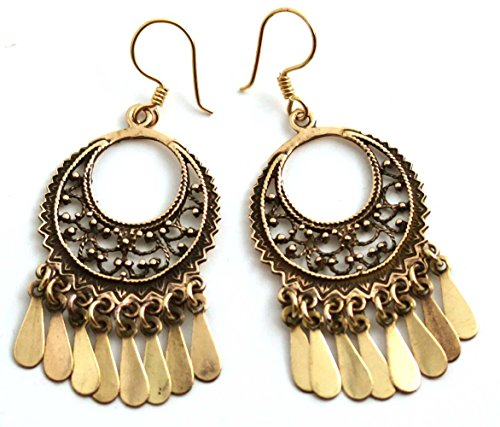 (Bronze Bohemian Sun Moon Hippie Boho Filigree Chandelier Drop Dangle Earrings Vintage Thailand Jewelry)