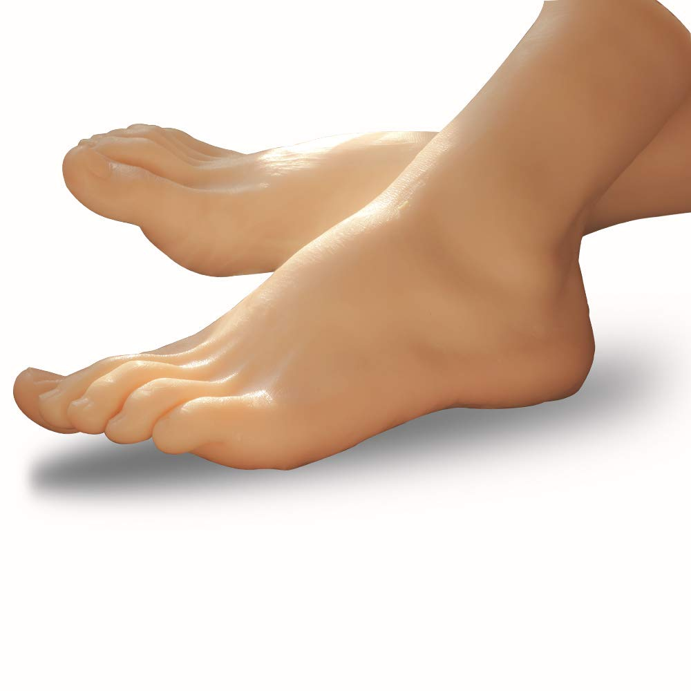 Silicone Foot Mannequin Life-Size Male Leg Display Model for Sketch Nail Art Practice Jewelry Sandal Shoe Sock Fetish (Single)