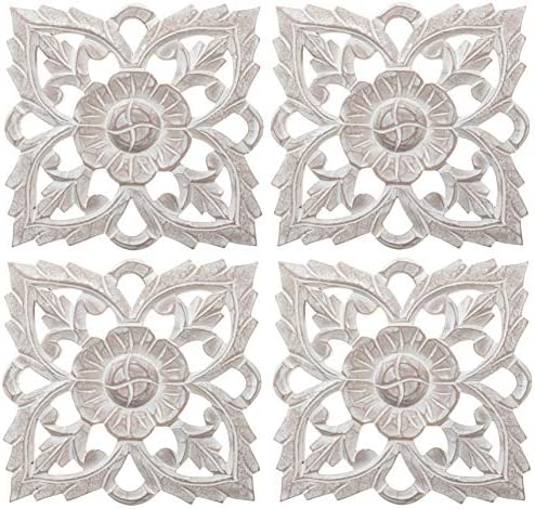 Set of 4 Antique White 8″ Solaris Twenty-one Wall Art