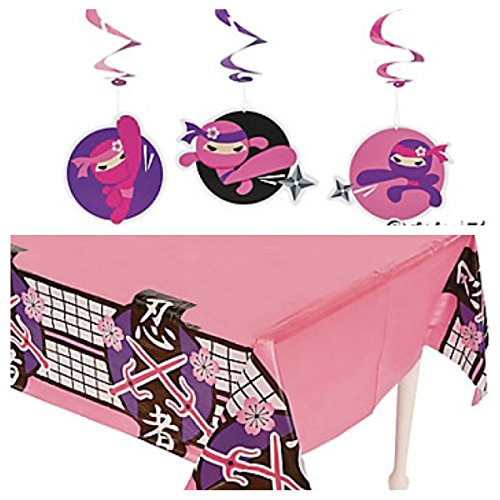 - PINK Girl NINJA PARTY Decor - TABLECLOTH & Dozen (12) Dangling WHIRLS Swirls - BIRTHDAY Decorations MARTIAL ARTS Dojo KARATE