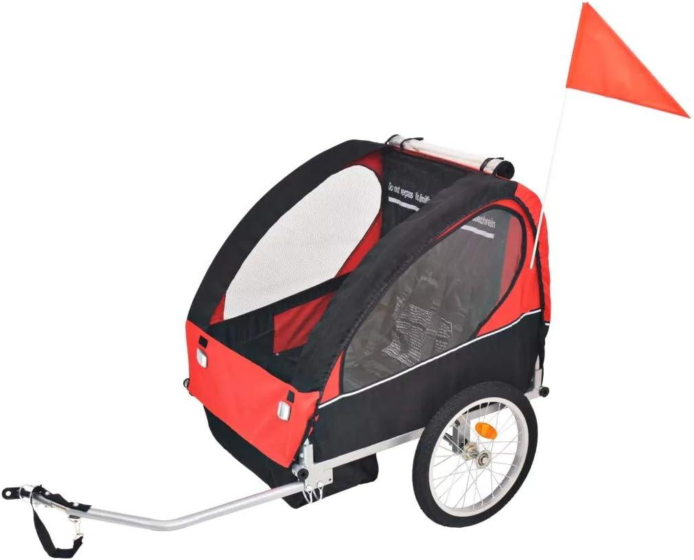 Wakects Remolque Bicicleta Infantil (Es Adecuado para 1 a 2 niños, máx. 30 kg, Convertible Carrito Paseo, cinturón Seguridad, Transporte niños, Impermeable, Transpirable, Rojo y Negro)