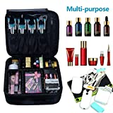 Travelmall 2 layer Makeup Train Case Travel Makeup Bag Cosmetic Case Organizer Make Up Artist Storage Bag with Adjustable Dividers 10.2