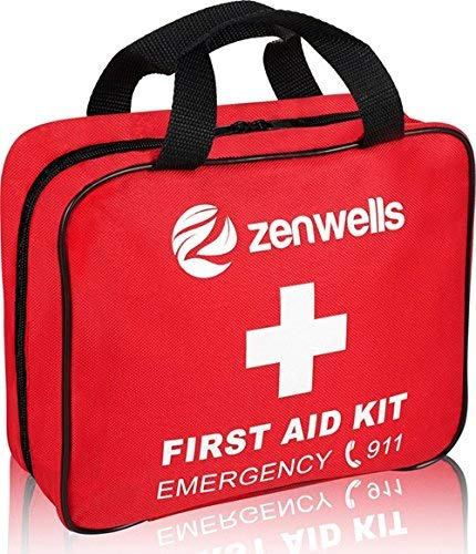 First Aid Kit Med Trauma; EMT Medical Supplies Bag, Car Safety Kits, Survival, Camping or Outdoor Gear Stocked Bags for Emergency Equipment. Your Complete Responder Organizer! from Zenwells