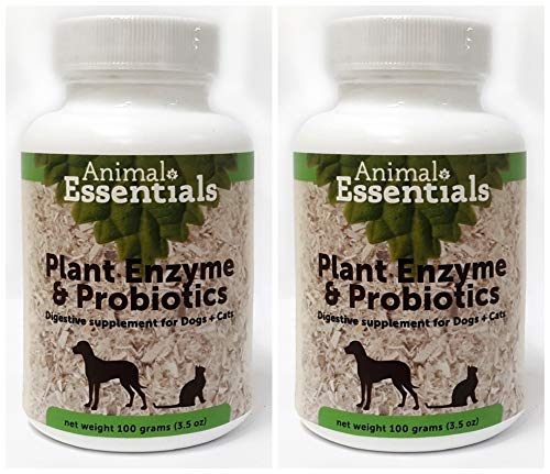 Enzymes For Animals - Animal Essentials Naturals Plant Enzyme and Probiotics Digestive Supplement for Dogs and Cats (Pack of 2) with Pineapple, Probiotics, Alpha and Beta Amylase, 3.5 Oz. Each