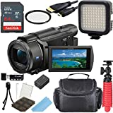 Sony 4K HD Video Recording FDRAX53 Handycam Camcorder + 64GB Memory + Video Light + Accessory Bundle