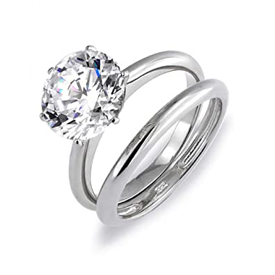 Bling Jewelry Round 3.5ct CZ Solitaire Engagement Wedding Ring Set Silver XENMIr