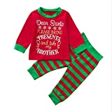 for 0-5years Old Kids ! Christmas Gifts for Baby,2Pcs Baby Girl Boy Toddler Baby Brother&Sister Boys Christmas Letter Tops+Stripe Pants Clothes Sets