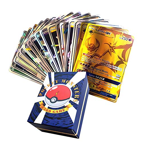 120PCS Pocket Monster Game Card English Flash Card Educational Toys for Developing Thinking Ability, Includes 30 Team Up Cards 50 Mega Cards 20 Trainer 20 Ultra Beast GX