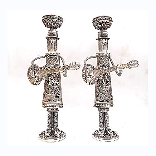Baltinester - Sterling Silver Filigree Judaica Shabbat Candlesticks Hasidic Art Musicians Sabbath Candle Holders