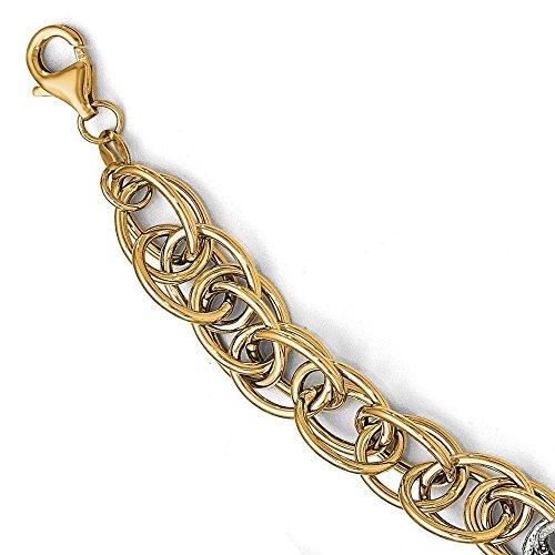 Or bicolore 14carats-Bracelet Texturé poli-20cm