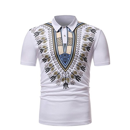 - VIASA Fashion Men Slim Fit Short Sleeve Printed Muscle Tee T-Shirt Casual Tops Blouse (M, White)