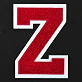 Letter Z - Chenille Stitch Varsity Iron-On Patch by pc, 4-1/2', Red/White, TR-11648