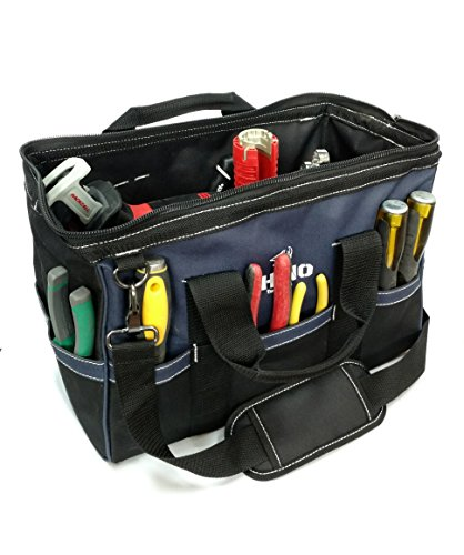 Rhino 16 inch Heavy Duty Wide Mouth Contractor Tool Bag With Back-saver Padded Shoulder Strap