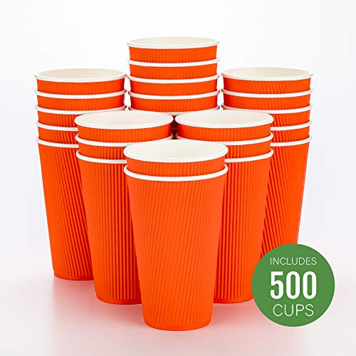 Disposable Paper Hot Cups - 500ct - Hot Beverage Cups, Paper Tea Cup - 16 oz - Tangerine Orange - Ripple Wall, No Need For Sleeves - Insulated - Wholesale - Takeout Coffee Cup - Restaurantware