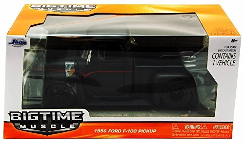 Jada 1956 Ford F-100 Pickup Truck, Black Toys Bigtime Muscle 90484-1/24 scale Diecast Model Toy Car (56 Ford Pickup F100)