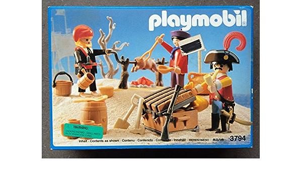 Playmobil ref 3794 9989 pig rotating roast pirates pirate island belen