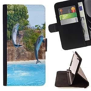 - Dolphins sea/ Personalizada del estilo del dise???¡Ào de la PU Caso de encargo del cuero del tir????n del soporte d - Cao - For Samsung Galaxy A3