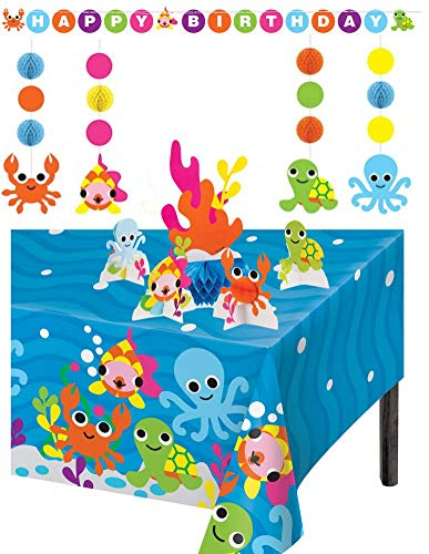 TLP Online Ocean Theme Birthday Party Supplies Decorations: Bundle Includes Large Ribbon Tied Banner, 5 Piece Centerpiece Set, Hanging String Decorations, Plus a Table Cover ()