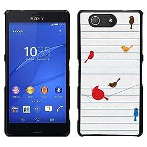EJOY---Cubierta de la caja de protección para la piel dura ** Sony Xperia Z3 Compact ** --Aves minimalista lindo Dibujo