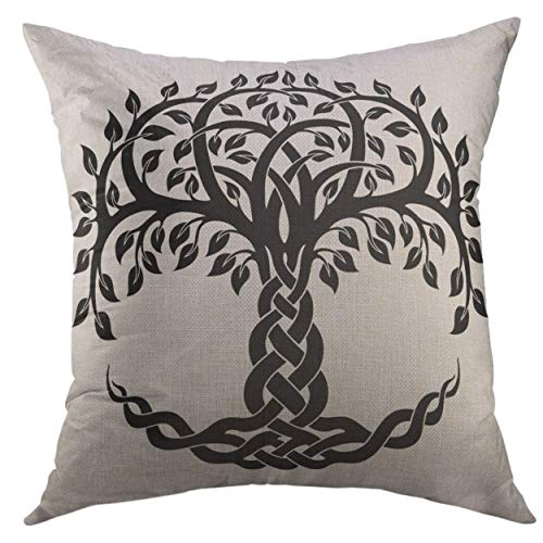 Mugod Decorative Throw Pillow Cover Couch Sofa,Black Floral Celtic Tree Life White Knot Round Home Decor Pillow case 18x18 inch