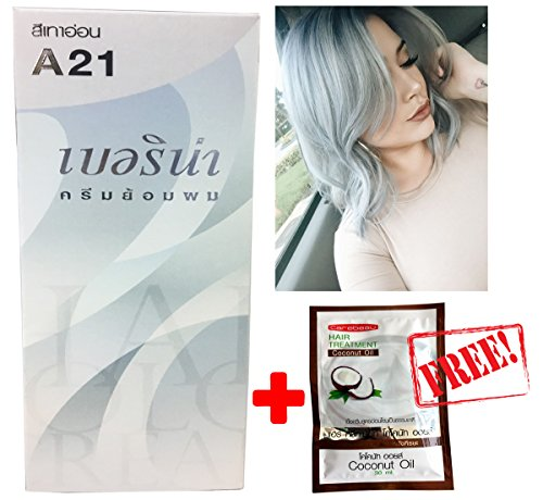 Silver Free Wii - Berina A21 Light Grey Silver Permanent Hair Dye Color Cream Unisex - Punk Style+ Free Coconut Oil Hair Treatment