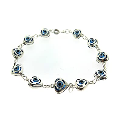 9b77ceace Image Unavailable. Image not available for. Color: .925 Silver 7.25 Inches  CZ Evil Eye Heart Bracelet ...