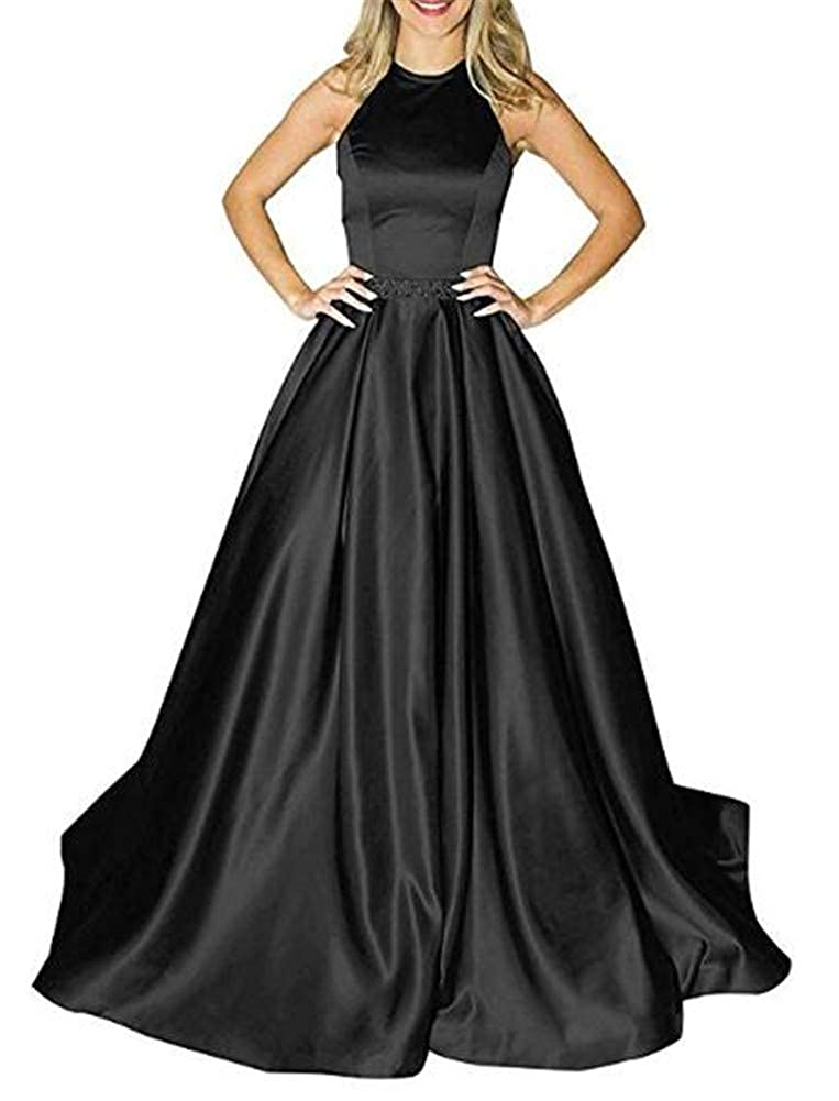 Black Yuki Isabelle Women's Halter Beaded Backless Long Formal Evening Wedding Dresses with Pockets