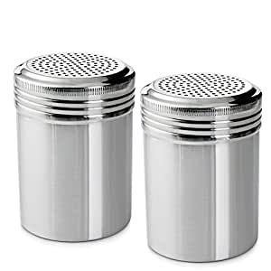 (Set of 2) 10 Ounce Stainless Steel Dredge with Handle, Salt, Pepper, Spice, Sugar Shaker Set