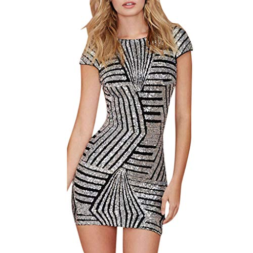 Scalloped Sequin (Women's Short Sleeve Sequins Skinny Slim Fit Mini Bodycon Scalloped Inspired Cocktail Club Dress Silver)