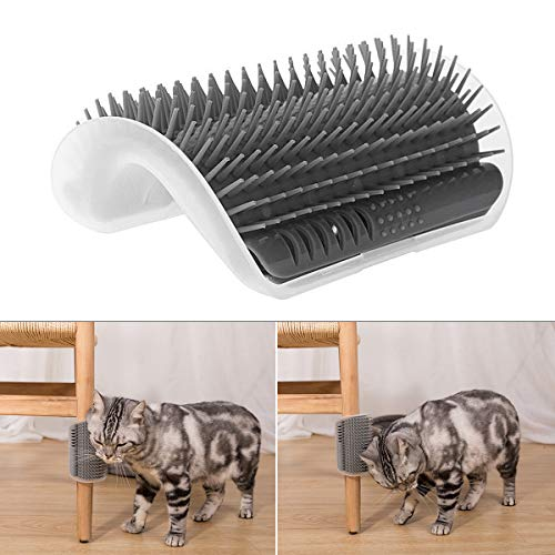LaviBest Cat Self Grooming Corners Brush, Cat Wall Brush Cat Scratching Wall Corner Comb Grooming Massage Brush- Helps Prevent Hairballs and Itching, Gray