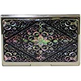 Mother of Pearl Metal Stainless Steel Engraved Slim Business Credit Black Card Money Case Holder with Arabesque Design
